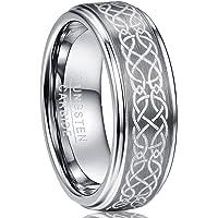 NUNCAD Anello Celtico in Argento Tungsteno Unisex Largo 8mm per Matrimoni Associazioni Anniversari e Occasioni Private…