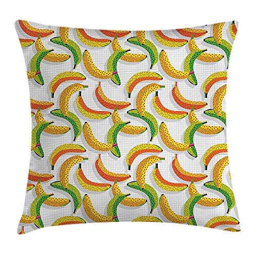 w Pillow Cushion Cover by, Retro 80s Fruit Fashion Banana Pattern Funky Hipster Illustration, Decorative Square Accent Pillow Case, 18 X 18 Inches, Yellow Orange and Lime Green ()