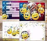 12 Smiley-Einladungskarten mit 12 Smiley-Umschlägen/lustige Smiley-Einladungen zum Kindergeburtstag/Party / Disko/Geburtstag mit passenden Umschlägen von EDITION COLIBRI (10833)