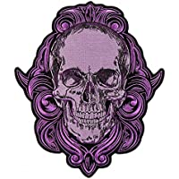GRAPHIC SKULL, High Thread Embroidered Iron-On / Saw-On, Heat Sealed Backing Rayon PATCH - 10