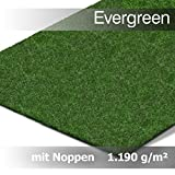 Evergreen Rasenteppich Kunstrasen Comfort m. Noppen - der Standard Vlies-Kunstrasen