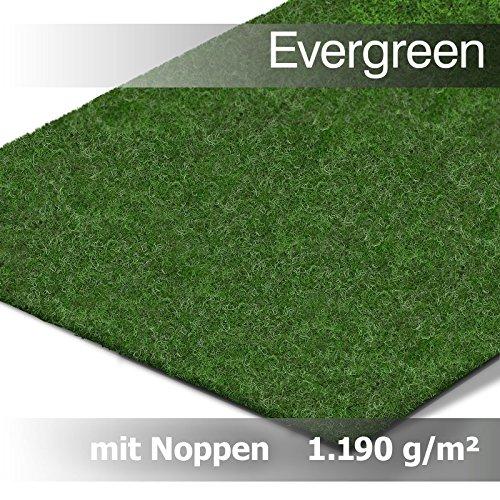 Evergreen Rasenteppich Kunstrasen Comfort m. Noppen - der Standard Vlies-Kunstrasen mit Drainagenoppen | Gesamthöhe ca 5mm | Gewicht 1.150g/m² | mit Drainagenoppen und Wasserdurchlässig 30 Liter/Min/m² | Pflegeleicht & Strapazierfähig & weiche Vlies-Oberfläche | Kunstrasenteppich (1,33 m x 1,50 m)