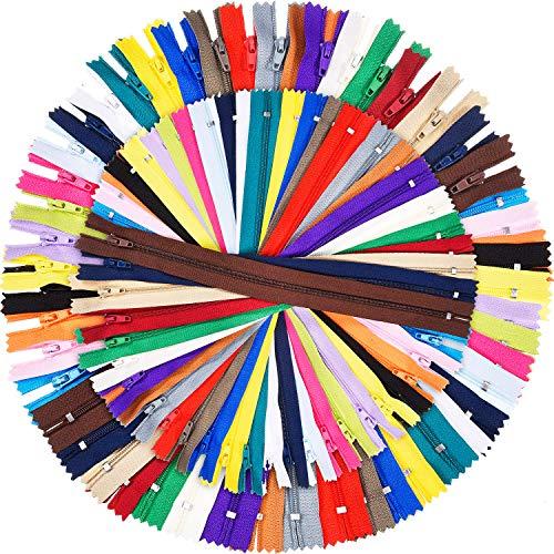 Shappy 9 pollici e 12 pollici cerniere per cucire 25 colori nylon chiusure lampo colorato per artigianato da cucire, 100 pezzi