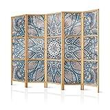 murando - Paravent XXL Mandala 225x171 cm - 5-teilig - einseitig - bedruckt auf deutschem Qualitäts Vlies - Leinwand - eleganter Sichtschutz - Raumteiler - Trennwand - Raumtrenner - Spanische Wand - Holz - Design - Motiv - Handarbeit - Deko – Japan – p-C-0010-z-c