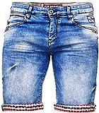 Herren Jeans Shorts Bermuda Destroyed Style Capri Kurze Cargo Denim Blau Sommer Sporthose Freizeithose Hose m Shirt Neu (34, Blau/Destroyed Jeans)