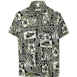 LA LEELA Casual Hawaiana Camisa para Hombre Señores Manga Corta Bolsillo Delantero Vacaciones Verano Hawaiian Shirt M-(in cms):101-111 Negro_W403