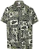 LA LEELA Uomini Rilassato Fit Aloha Hawaiian Pulsante Manica Corta in Giù Camicia Hawaiana 3XL Nero