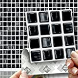 18 BLACK MOSAIC EFFECT WALL TILES - 2mm Thick and solid Self Adhesive Stick on Wall Tile Stickers Transfers - 18 tiles per box 4'x 4' (10cm x 10cm) - NO CEMENTING ! NO GROUTING ! Each box of 2mm Thick Solid Tile Stickers will totally cover over the area underneath of 2 square feet. TILE OVER ANY SIZE OF TILE OR ONTO THE WALL, thick Self Adhesive Wall Tiles that are Water and Steam Resistant for both Kitchens and Bathrooms.