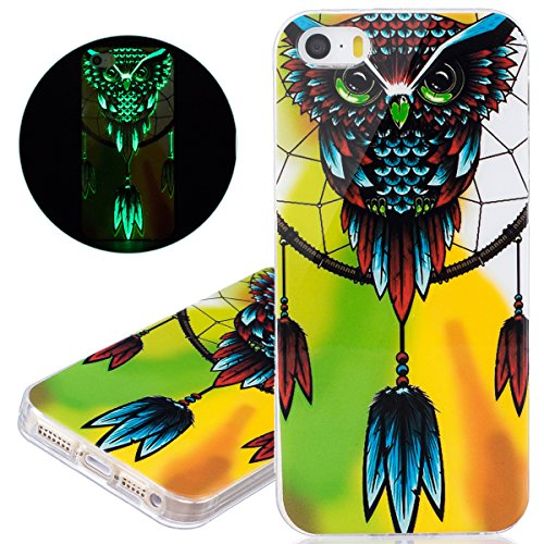 ISAKEN Custodia iPhone SE - Cover iPhone 5S - Fashion Agganciabile Luminosa Cover Denso Case con LED Lampeggiante per Apple iPhone 5 5s SE Ultra Slim Sottile TPU Cover Rigida Gel Silicone Protettivo S gialla gufo