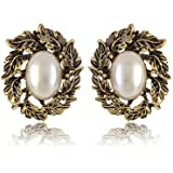 Cinderella Collection By Shining Diva Metal Stud Earring For Women (White)