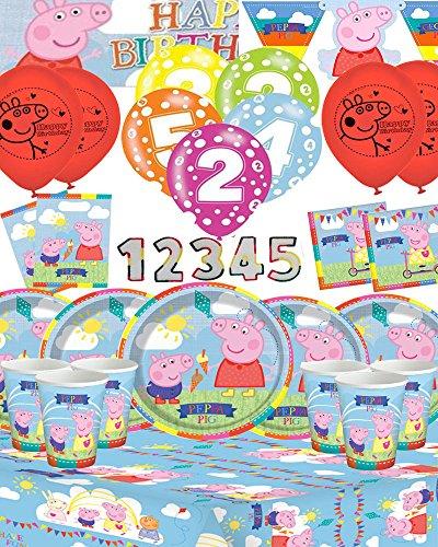Peppa Pig tolles 16-teiliges Party-Kit für Kinder, Alter auf Banner, Kerzen und Luftballons personalisierbar (1-5Jahre)