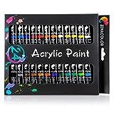 Zenacolor Set da 24 Tubetti di Pittura Acrilica Confezione da 24 x 12mL - Pittura di qualità Superiore e Non Tossica - 24 Colori Unici e Differenti
