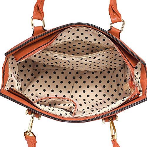 Frau Schulter Taschen Faux Leder Handtasche oben Griff Taschen zum Frau mit Gold Metall Arbeit lange Gurt Handtaschen und Polka Punkte Stoff innen Braun