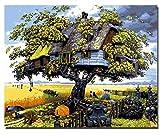 Superlucky Baumhaus DIY Malen Nach Zahlen Kits Malen Auf Leinwand Acryl Färbung Malen Nach Zahlen Für Hauptwanddekor Mit Rahmen 40x50cm
