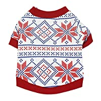 Catkoo Pet Clothes,Cartoon Christmas Elk Snowflake Print Cotton Clothes Vest Soft Shirt Costume Dog Accessories Pet Costumes Clothing for Small Medium Big Dog Cat Red S