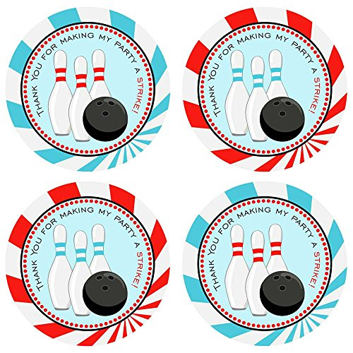 Adorebynat Party Decorations - EU Junge Bowling-Party danken Ihnen Aufkleber Etiketten - Kinder Unterhaltung Sport Geburtstag Favor- Set 30