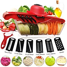 Mandoline Slicer Godmorn Newest 6+1 Vegetable Slicer Multi-function Food Slicer Fruit and Cheese Cutter Juilienne Slicer with 6 Interchangable Stainless Steel Blades Best for Carrot, Cucumber, Cheese, Onions, Tomato, Potato and Zucchini, Red