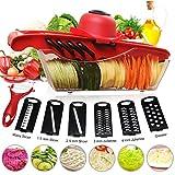 Cortador de verduras Mandolina Frutas Godmorn 6+1 Cortador de verduras manual de patatas rallador de...