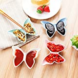 SpiderJuice Cute Butterfly Shape 2 Section Partition Hard Melamine Unbreakable Soya Tomato Mayonnaise Sauce Multipurpose Seasoning Dish Plate (Pack of 2, Random Color)
