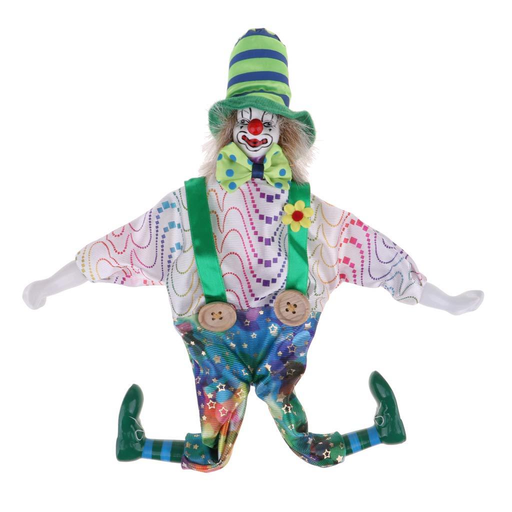 Fenteer Clown Kostüm Porzellanpuppe Kinder Spielzeug Geschenke Halloween Weihnachten Dekoration - # 1, 38cm