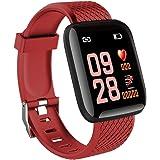 116 Plus Smart Watch Smartwatch da 1,3 pollici con schermo a colori Tft da sport impermeabile per attività fisica Tracker Smart Watch - rosso