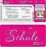 Einladungskarten Einschulung als Flugticket mit Abriss-Coupon, pink 10 Stück