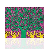 Leinwanddruck Baum des Lebens Keith Haring Tribut Reproduktion - Leinwand Interieur Wohnkultur auf Leinwand gemalt bereit zum Aufhängen - Moderne Dekoration Pop-Art - Declea