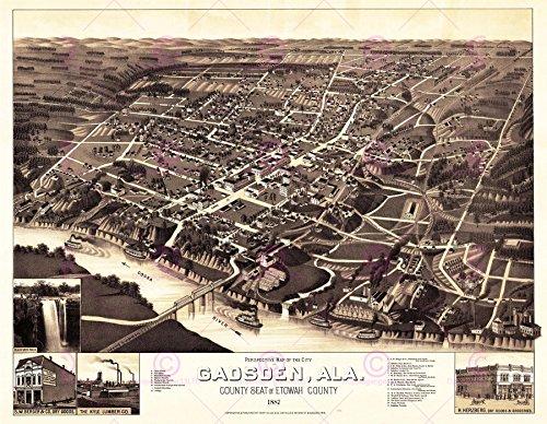 MAP ANTIQUE 1887 WELLGE GADSDEN ALABAMA CITY PLAN REPLICA POSTER PRINT PAM1975 - 1887 Antique Map