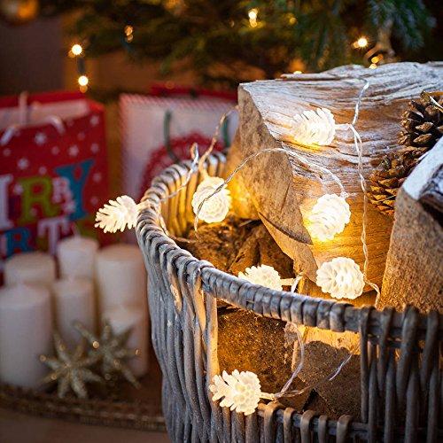 YARBAR Bianco Natale Pine Cone luci LED esterno del partito di Natale String-Caldo 4M