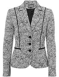 Busy Clothing Womens White & Black Geometric Design Jacket