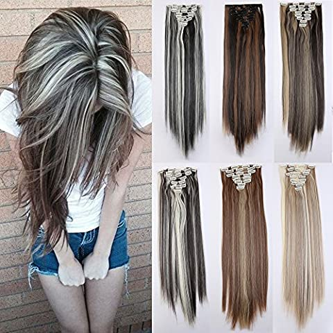 8Pcs 18 Clips 24-26 Inch Curly Straight Full Head Clip in on Hair Extensions Highlight Women Lady Hairpiece