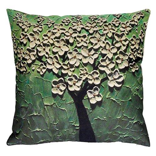 Amcool Zierkissenbezüge, Kopfkissenbezug Sofa Blume Baum Werfen Kissenbezug (45cm*45cm, Grün)