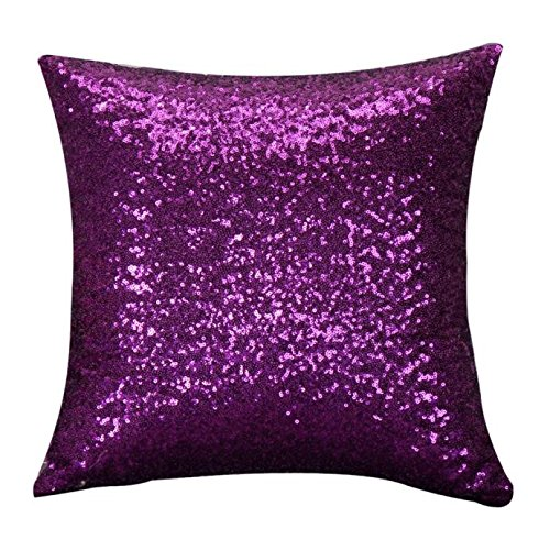 Indexp Glitter Sequins Solid Color Pillowcase Home Decor Sofa Cushion Cover (Purple/45x45cm)