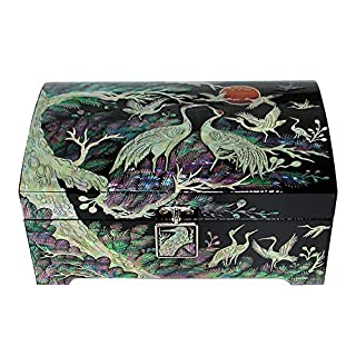 Mother of Pearl Asian Lacquer Wood Black Bird Jewelry Case Trinket Keepsake Treasure Gift Box Organizer