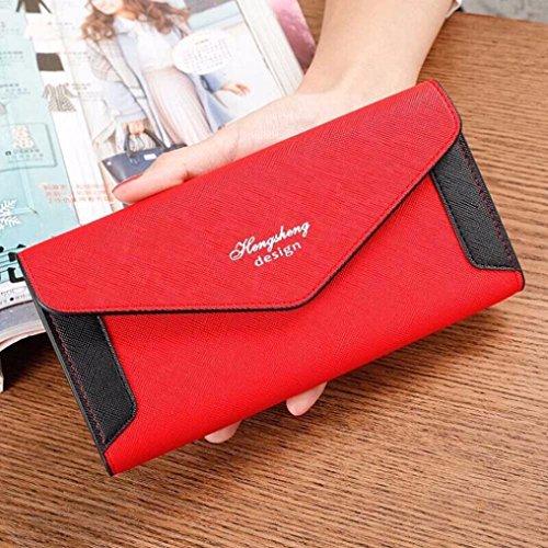 Tefamore Frauen Verschlussspange Coin Purse lange Brieftasche Card Inhaber Handtasche (Blau) Rot