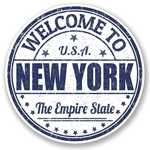 Preisvergleich Produktbild 2x New York USA vinyl Aufkleber Aufkleber Laptop Reise Gepäck Auto Ipad Schild Fun # 5221 - 10cm/100mm Wide