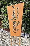 Gartenstecker Gartenschild Carpe Diem Beetstecker Edelrost / Rost Optik Gartendeko Gartenfigur