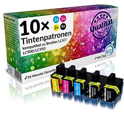 N.T.T.® 10 Stück kompatible XXL Druckerpatronen für Brother LC47 / LC950 / LC900 LC900BK , LC900C , LC900M , LC900Y