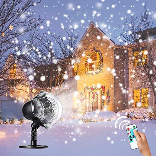 Rehao Luci del proiettore di Natale Caduta di luci a fiocchi di neve LED nevicata proiettore luci illuminazione interna e esterna con paesaggio per Natale matrimonio compleanno Capodanno