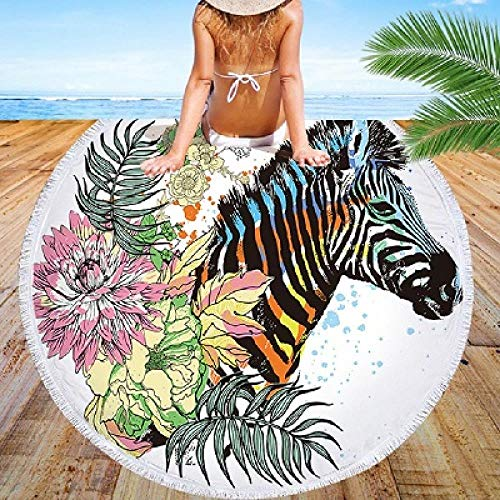 PIPIFENG Beach Towel Zebra Print Round Microfiber Fringe Living Room Wall Hanging Tapestry Yoga Mat Zebra Fringe