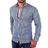UJUNAOR Herren Karierte Hemden Herren Langarm Slim Fit Geschäft Lässiges Hemd(M,Blau)