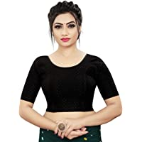HIMALAY Fashion Women's Stitched Lycra Saree Stretchable Jacquard Work Readymade Blouse for Women - 3/4 Sleeve - XL Size…