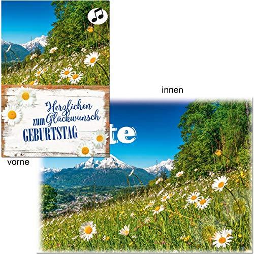 Geburtstagskarte mit Musik, Din A5 - Sommerwiese in den Bergen