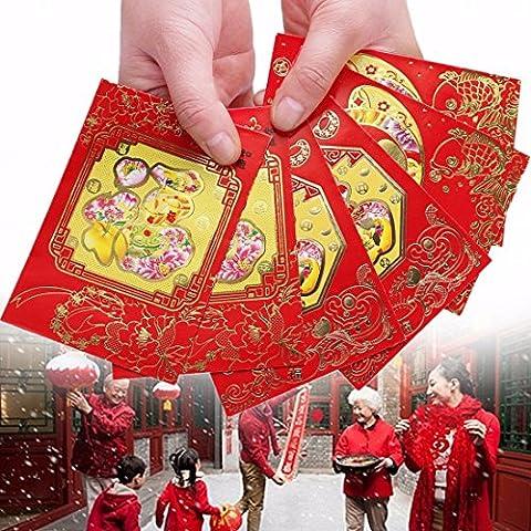 ungfu Mall Lot de 6Fu chinois printemps Festival Rouge Enveloppes Lucky Money Sac Nouvelle Année poche sac argent
