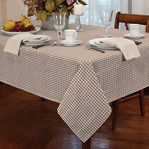 "Gingham Check Tablecloth Dining Room or Kitchen Table Linen 60"" Round (Beige)"