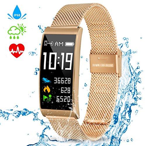 Kitbeez Fitness Tracker, Bluetooth Smart Armband Aktivitätstracker Schrittzähler IP68 Wasserdicht mit Herzfrequenz Schlafmonitor Kalorienzähler Kompatibel mit iPhone Android Handy