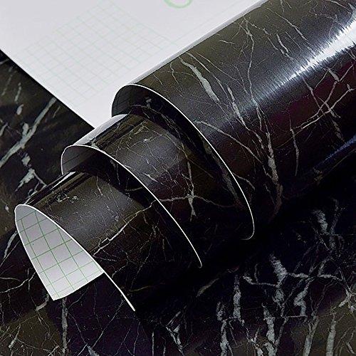 jiwinner schwarz weiß geäderter Marmor Effekt Kontakt, Papier, Folie, Vinyl, selbstklebend, peel-stick Counter Top Regal rutschsicher Tisch und Tür Reform (1.31ft X 25ft) -