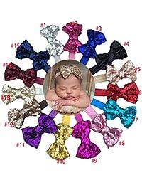 15pcs 7,6cm Boutique Strass Paillettes nœuds en ruban maille nylon cheveux bandeaux pour filles enfants Cheveux bandes acessories