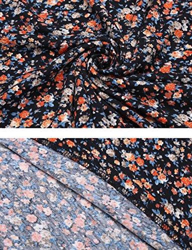 Zeagoo Damen Sommerkleider Jerseykleid Wickelkleid Vintage Blumen Kleid V-Ausschnitt Kurzarm Knielang (A)Orange