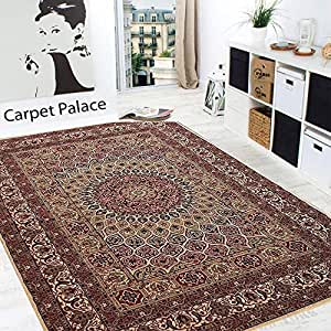 Carpet Palace Kashmiri Persian Design High Quality Branded Carpet with 0.5 inch Pile for Your Living Room,Bedroom,Daining Room and Hall 90 x 160cms 3 Feet by 7 Feet Multi/Ivory